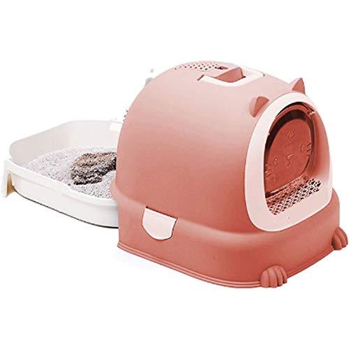 Modische und nützliche Katzentoilette, komplett geschlossen, große Katzentoilette, Katzenstreu-Waschbecken, spritzwassergeschützt, desodorierend, geeignet für Haustiere (Farbe: Rot, Größe: 52 x 40 cm)