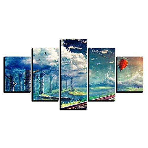 wwttoo 5 imágenes consecutivas Cuadros en Lienzo Decoración para el hogar Arte de la Pared 5 Piezas Globos de Aire Caliente Pinturas de árboles del Cielo Impresiones HD Centímetros por Segundo