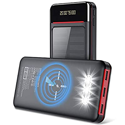 Aikove Wireless Power Bank 26800mAh Portable Solar Charger with 2 Inputs(USB C&Micro) and 3 Outputs, LCD&LED Lights, Huge Capacity External Battery Pack Compatible for Smartphones and More (Black)