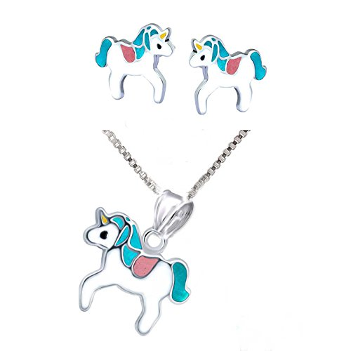 SL-SILVER juego de cadena, colgante y pendientes para niños de colores, unicornio, plata de...