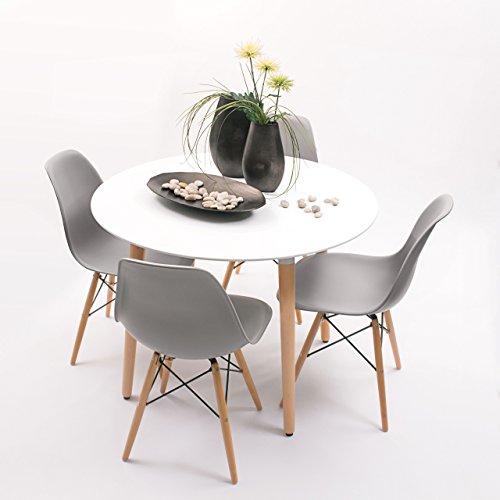 Conjunto de Comedor de diseño nórdico NORDIK-MAX con Mesa Redonda de 100 cm y 4 sillas (Gris Medio)