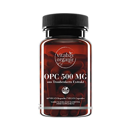 OPC 500 mg Altas Dosis a Partir de la Extracto de Semillas de Uva, Cápsulas Veganas
