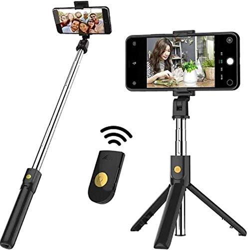 SmartTech Pro Selfie Stick Stativ, 3 in 1 Mini Selfiestick mit Bluetooth-Fernauslöse Handy Erweiterbarer Selfie-Stange und Tragbar Monopod Handyhalter für iPhone/Samsung/Huawei IOS und Android