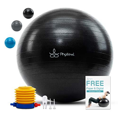 PHYLLEXI Gymnastikball Pilates Ball Anti-Burst - Sitzball Büro 55cm/65cm/75cm/85cm für Fitness, Balance - Extra Dicker Yoga Ball unterstützt 1000kg - Schnelle Pumpe & Trainingsanleitung inklusive