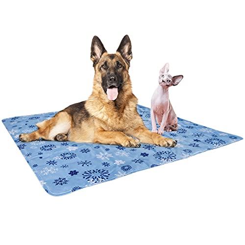 Vamcheer Alfombra Refrescante para Perro,Alfombra de enfriamiento para Mascotas, Cool Pet Mat,Cama Gat Frio Animales Colchon Mascotas para Verano,Mediano/Grande/XL Azul Claro 90x90