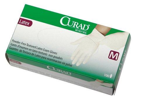 Curad Powder-Free Latex Exam Gloves, Medium, 100 Count