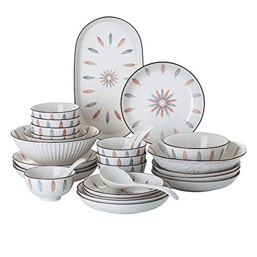 ZJZ Juego de vajilla de cerámica, Cuenco de Cereal y Plato de Carne, 46 Piezas, Juegos de Cena para Restaurante