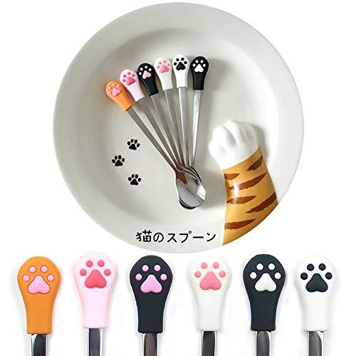 Ayomi silicone testa di gatto Paw design in acciaio INOX caffè/tè/dessert/drink/miscelazione/milkshake cucchiaio da tavola posate gadget appeso cucchiaio cucchiaino da appendere