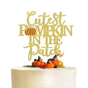 Cutest Pumpkin in the Patch Cake Topper,Little Pumpkin,Fall Baby Shower Cake Decor,Autumn Pumpkin Patch Themed Party Decorations