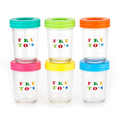 New Glass Baby Food Storage Containers - Set Contains 6 Large 8oz Reusable Jars with Regular Mouth S...