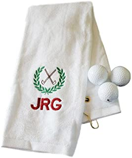 GiftsForYouNow Personalized Embroidered Initials Golf Hand Towel, Cotton, 16