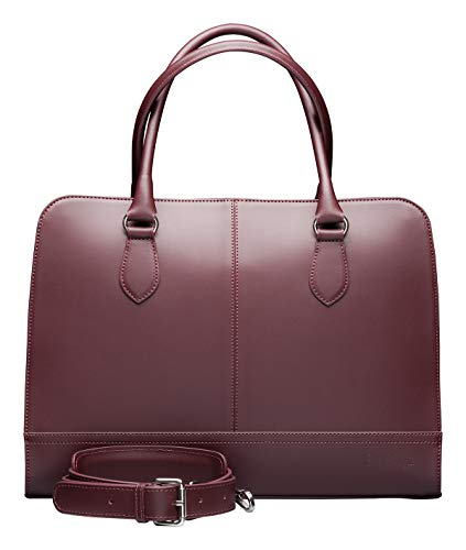 Su.B 15,6 Zoll Leder Laptoptasche für Damen - Umhängetasche, Handtasche, Aktentasche - mit Trolleybefestigung - Bordeaux Rot