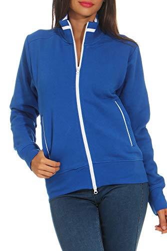 Happy Clothing Damen Sweatjacke mit Reißverschluss und Kragen ohne Kapuze im sportlichen Design, Elegante Jacke aus Baumwolle für Sport und Freizeit, Größe:M, Farbe:Blau