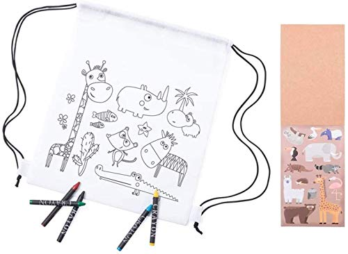 Pack Cumpleaños infantiles. Mochilas animalitos para Colorear con 5 Ceras de Colores + libretas con Pegatinas Animales y Plantillas para Pintar. Regalos invitados fiestas niños. (15)