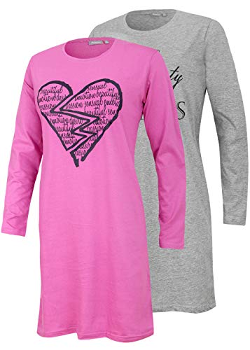 Moonline nightwear Neu eingetroffen - Doppelpack Damen-Bigshirt Nachthemd, Langarm, Uni mit Druck (grau Melange/rosa, 44/46)