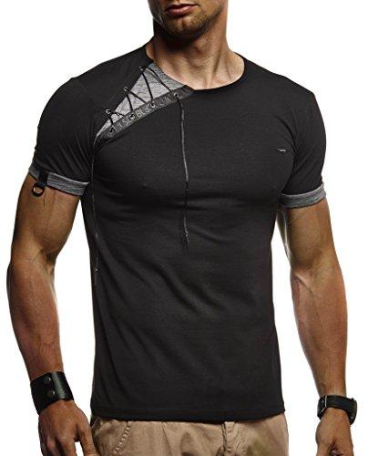 Leif Nelson Herren Sommer T-Shirt Rundhals-Ausschnitt Slim Fit Baumwolle-Anteil Moderner Männer T-Shirt Crew Neck Hoodie-Sweatshirt Kurzarm lang LN1245 Schwarz X-Large
