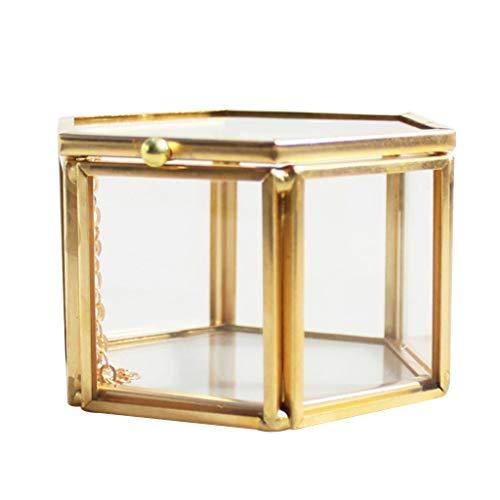 Fenteer Klassische Glasterrarium Gewächshaus Schatulle Kasten Töpfe Box für Immerwährende Blume Schmuck und Pflanzen - Golden, 8 x 6,8 x 4,5 cm