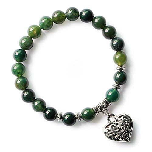 MHZ JEWELS Green Moss Agate Crystal Beads Bracelet Heart Charm Jasper Stone Stretch Bracelets for Women Girls
