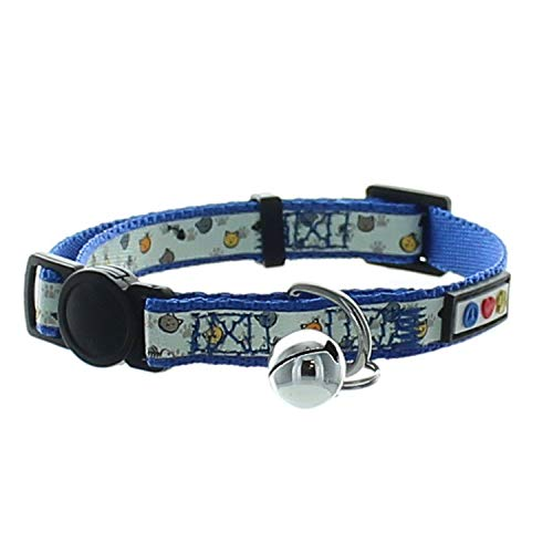 Pawtitas Glow in The Dark Cat Collar with Safety Buckle and Removable Bell Cat Collar Kitten Collar Blue Cat Collar
