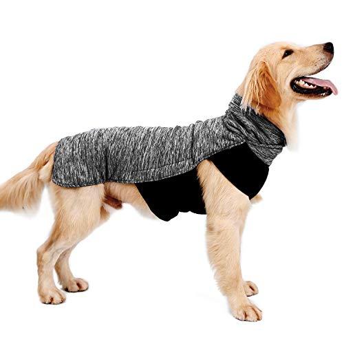 LIVACASA Hundemantel Winddicht Warm Hundejacke Gepolstert Wasserabweisend Wintermäntel Winterjacke für Hunde Reflektierend Bauchschutz Mit Leineloch Winter Hundewintermantel Grau 3XL