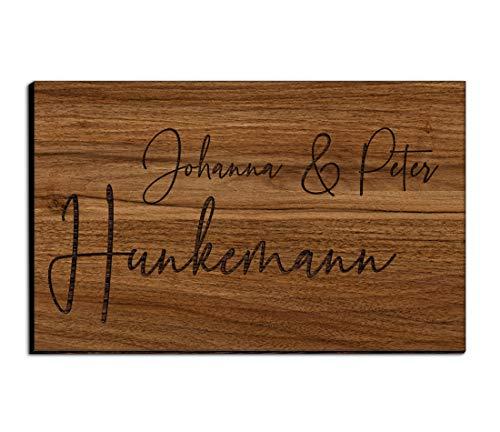 Holz Türschild mit Gravur | Namensschilder Briefkastenschild selbstklebend oder mit Bohrlöcher 8x5 cm eckig Klingelschild/Türschild für die Haustür mit Namen