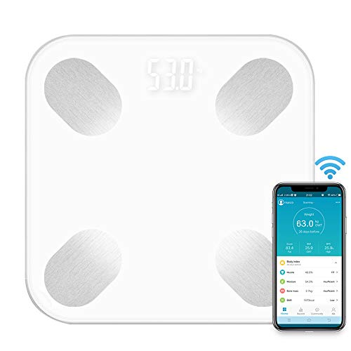 Janhiny Básculas de grasa corporal multifuncionales Uso en el hogar BT inteligente Báscula electrónica de peso Sensores de alta precisión BMI digital Báscula de agua Masa de salud Analizador de compos