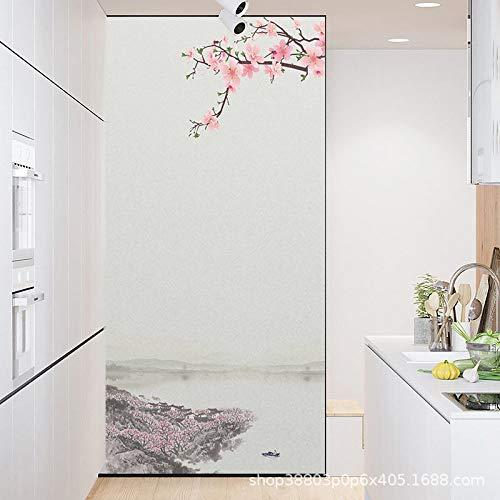 TFOOD raamfolie, raamfolie esthetische retrostijl roze bloemenboot privacy statische cling matte stickers ondoorzichtig glas decor zelfklevende UV-bescherming voor keuken badkamer woonkamer