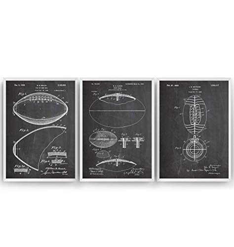 Amerikanischer Fußball Patent Poster - Set Of 3 - American Football Jahrgang Drucke Drucken Bild Kunst Geschenke Zum Männer Frau Entwurf Dekor Art Blueprint - Rahmen Nicht Enthalten