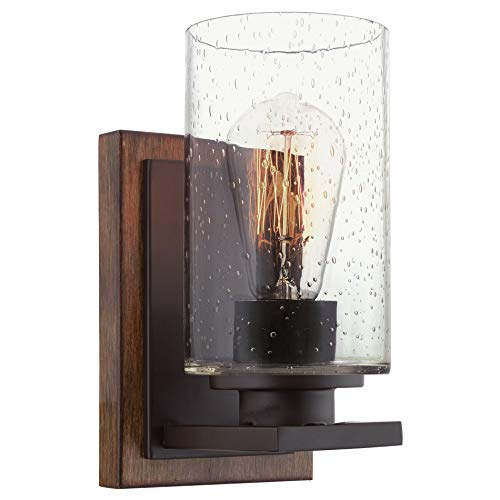 "Kira Home Sedona 9"" Modern Rustic Wall Sconce + Seeded Glass Cylinder Shade, Oil Rubbed Bronze + Wood Style Walnut Finish"