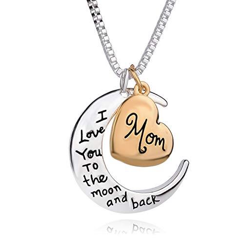 QIN Adorno del Collar del Colgante del corazón Te Amo a la aleación de la Luna Madre Personalizada Collar para la Femenina del día de la Madre del día de la Madre.
