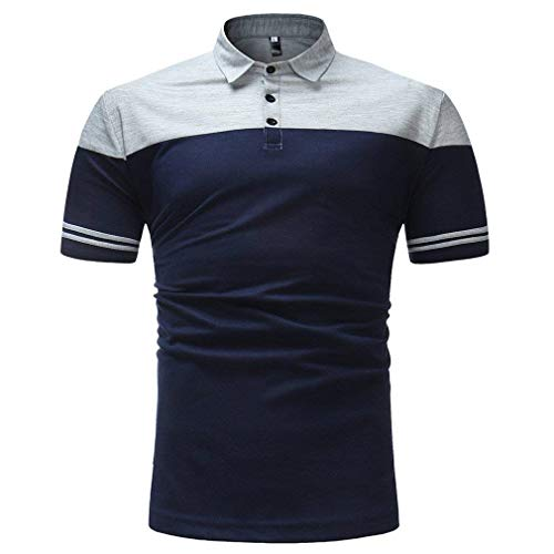 Poloshirt heren zomer mode blok kleur revers korte mouwen moderne casual polo shirts Daily uitgaan casual slim fit sport poloshirt