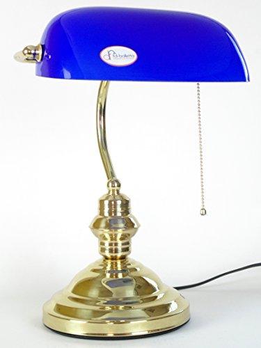 fd-bolletta arredamento e illuminazione lampada ministeriale churchill,lampada ottone catenella da scrivania vetro blu lm3 Misure:H 37cm,L 26cm,Ø base 18cm,profondità 22cm