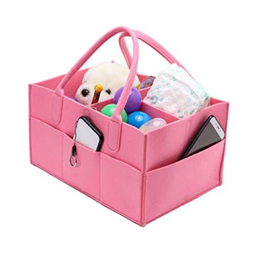 Organizador de pañales para bebé con 3 compartimentos y 5 bolsas, organizador de coche plegable con compartimento extraíble, tela verde y suave, 12.99 x 9.05 x 7.28 pulgadas rosa rosa