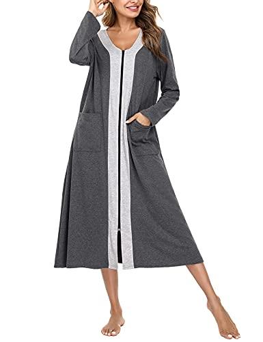 NA Bademantel Damen mit Reißverschluss Langarm Morgenmantel Nachthemd Nachtwäsche mit Taschen Gemütliche Robe Sleepwear Grau XXL