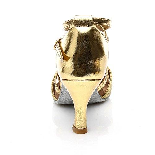 Damen Ballsaal Latein Salsa Tanz Schuhe Standard & Latein stil 255,Gold,34EU,Heel1.95¡± - 4