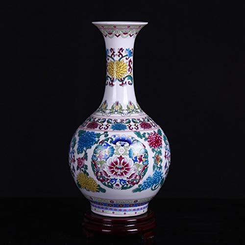 ZYG222 Klassische Emaille Vase mit Blumenmuster Porzellan Moderne Vintage Blumenvase Keramik Blume Weihnachtsdekoration