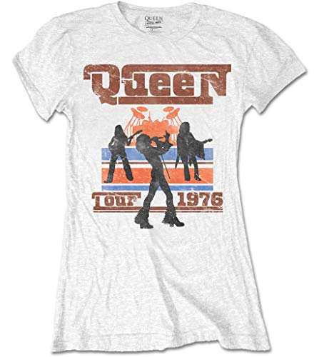 Queen '1976 Tour Silhouettes' (White) Womens Fitted T-Shirt (Medium)