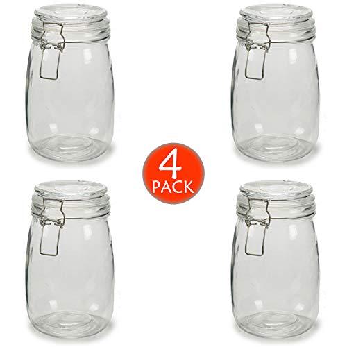 4 x Botes de Cristal para Cocina de 1 litro con Cierre Hermético de Clip con Junta de Silicona. Tarros de Vidrio con Tapa. Pack 4 Unidades. Conserva y Preserva