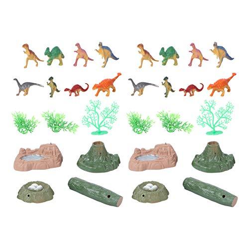 Toyvian 2 Sets Miniature Dinosaur Toy Realistic Mini Dinosaur Figurine Jurassic World Building Block Cake Topper Educational Toy for Xmas Dashboard Micro Landscape Fairy Garden