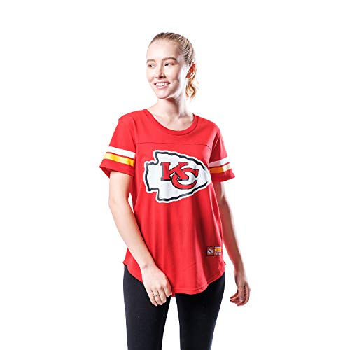 Ultra Game NFL Kansas City Chiefs Womenss Soft Mesh Jersey Varsity Stripe Jock Tag Crew Neck Tee Shirt Top, Team Color, X-Large