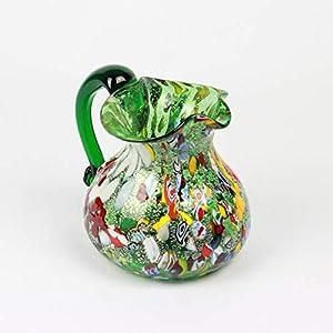 Jarra de cristal de Murano en verde y colores mezclados
