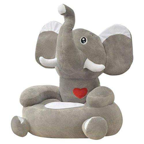 vidaXL Plüsch-Kindersessel Plüschtier-Kuschel-Sessel Tiermotive Elefant Grau