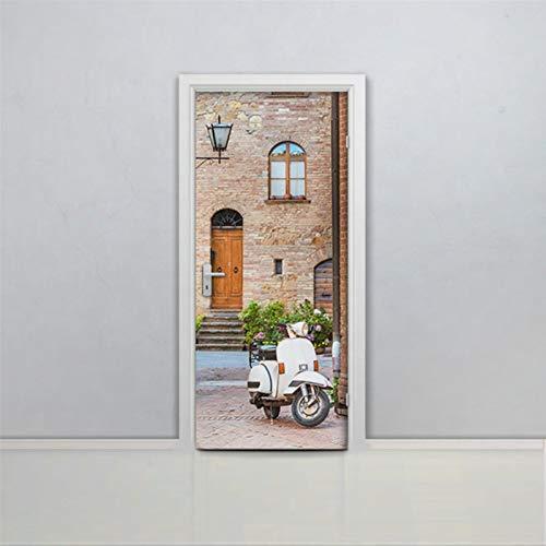 Vinilo adhesivo para puerta de calle italiana, autoadhesivo, extraíble, para puerta, scooter, Italia, moto, Vitage, 30 x 79 pulgadas oq207