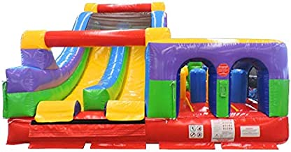 30-Foot Long Radical Run Inflatable Obstacle Course with Climbing Wall, Retro Rainbow, 16-Foot Wide by 15-Foot Tall, Commercial Grade Interactive Bounce House, Blower and Stakes Included