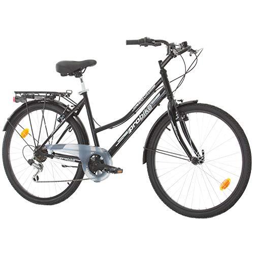 Multibrand Distribution Probike 26 City Zoll Fahrrad 6-Gang Urbane Cityräder for Heren, Damen, Unisex 455mm (Schwarz)
