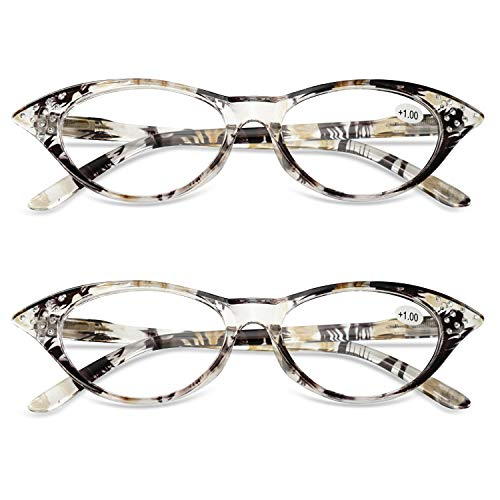 KOOSUFA Katzenaugen Lesebrille Damen Federscharnier Hornbrille Lesehilfe Sehhilfe Retro Designer Mode Vollrandbrille mit Brillentasche 1.0 1.5 2.0 2.5 3.0 3.5 4.0 (2x Gelb, 1.0)