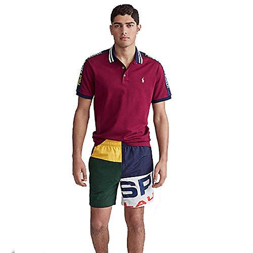 Polo Ralph Lauren Custom Slim Fit Mesh Polo (M, Classic Wine