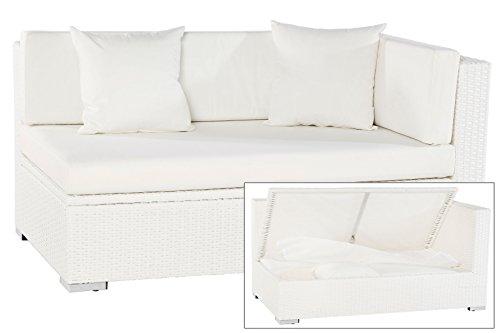 OUTFLEXX 2-Sitzer Ecksofa aus hochwertigem Polyrattan in weiß mit Kissenboxfunktion, 145x85x70 cm, Armlehne Links inkl. Polster, Gartencouch Gartensofa Loungesofa für 2 Personen, wetterfest, rostfrei