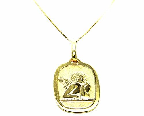 Collana Oro Giallo 18kt (750) Catenina Veneta Medaglia Religiosa Angelo Angioletto Putto Battesimo Bambini