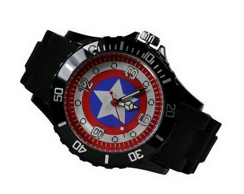 Orologio di Capitan America, supereroe Marvel, da ragazzo e uomo, in metallo, colore nero, cinturino in silicone, modello WG26